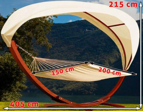 Kompletní rozměry houpací sítě s dřevěnou konstrukcí a stříškou