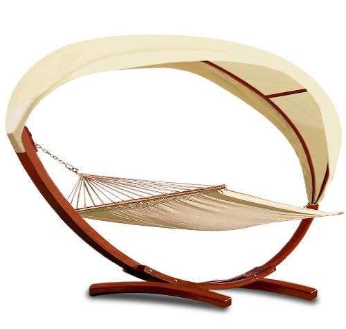 Luxusní houpací lehátko/síť s dřevěným rámem a střechou