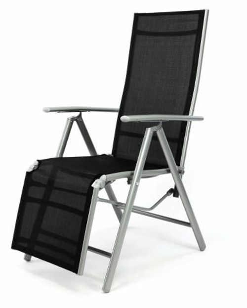 Černé relaxační lehátko hliníkové skládací křeslo