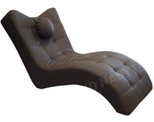 Hnědo-šedé kožené relaxační lehátko