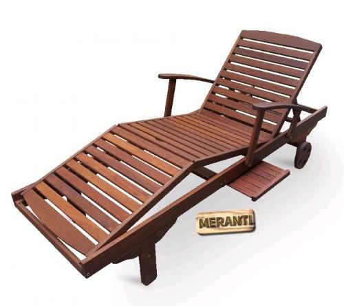 Luxusní polohovatelné lehátko SPA z tropického dřeva