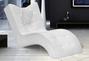 Relaxační lehátko bílá ekokůže
