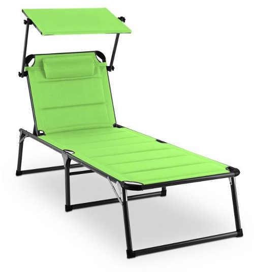 Zelené polstrované lehátko k bazénu se stříškou