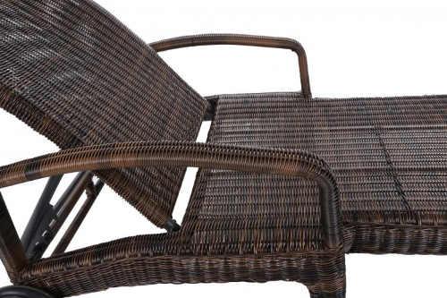 Luxusní zahradní lehátko hnědý umělý ratan