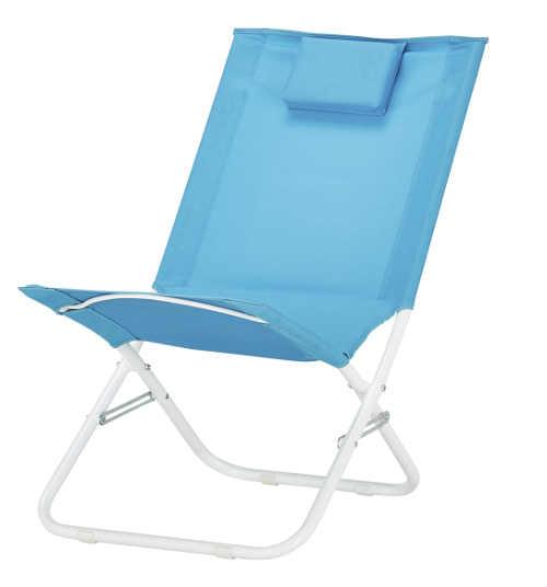 Modrá polohovatelná plážová židle