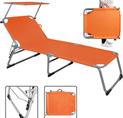 Oranžové skládací plážové lehátko se stříškou