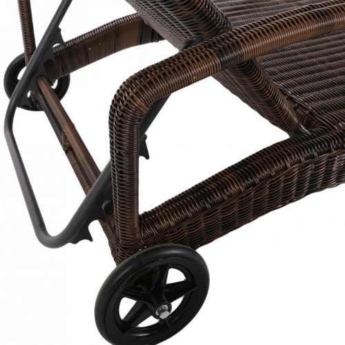 Ratanové zahradní lehátko s kolečky a pěti polohovacími polohami
