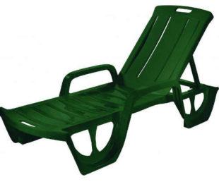 Zelené plastové zahradní polohovatelné lehátko