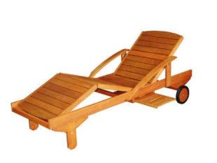 Dřevěné polohovací lehátko s pojízdnými kolečky