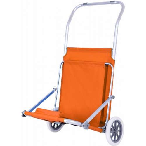oranžové lehátko se stříškou a pojízdnými kolečky