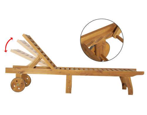 zahradní lehátko ze dřeva s kolečky