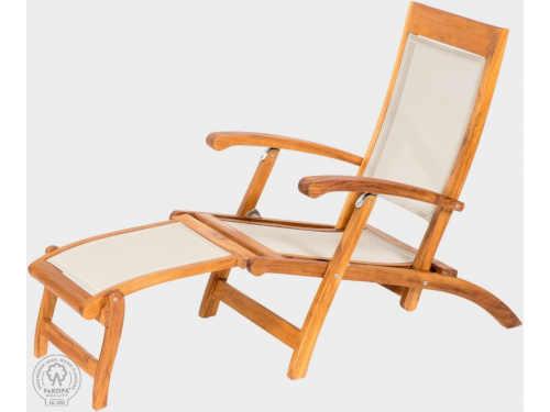 Skládací moderní lehátko z teakového dřeva